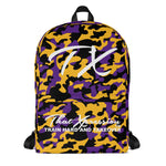 ThatXpression Fashion Purple Black Gold Camo Themed Backpack