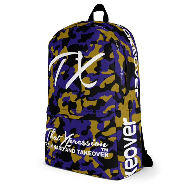 ThatXpression Fashion Black Purple Gold Camo Themed Backpack