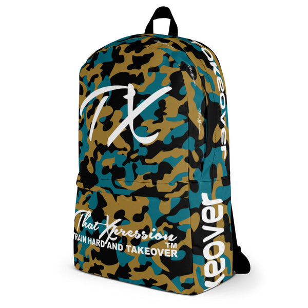 ThatXpression Fashion Teal Gold Camo Themed Backpack
