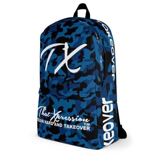 ThatXpression Fashion Blue Black Camo Themed Backpack
