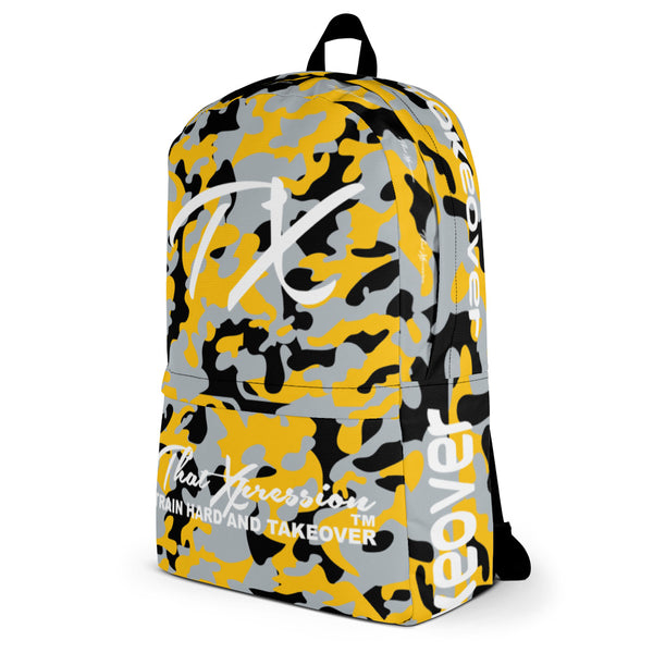 ThatXpression Fashion Black Yellow Camo Backpack
