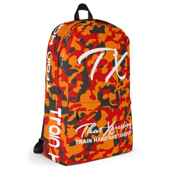 ThatXpression Fashion Orange Pewter Camo Themed Backpack