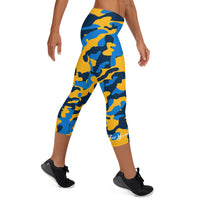 ThatXpression Fashion San Diego Blue Gold Camo Capri Leggings