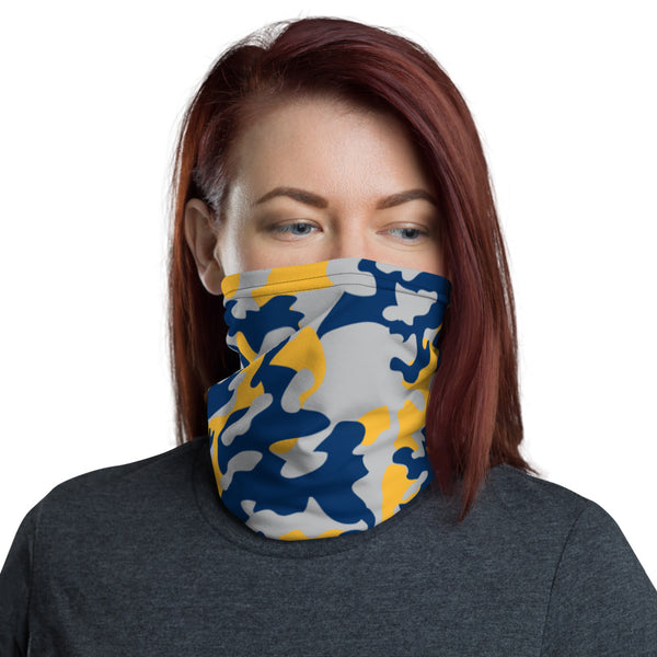 ThatXpression Fashion Silver Navy Yellow Camo Themed Neck Gaiter