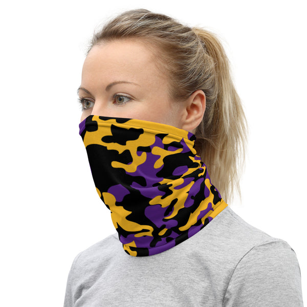 ThatXpression Fashion Black Gold Purple Camo Themed Neck Gaiter