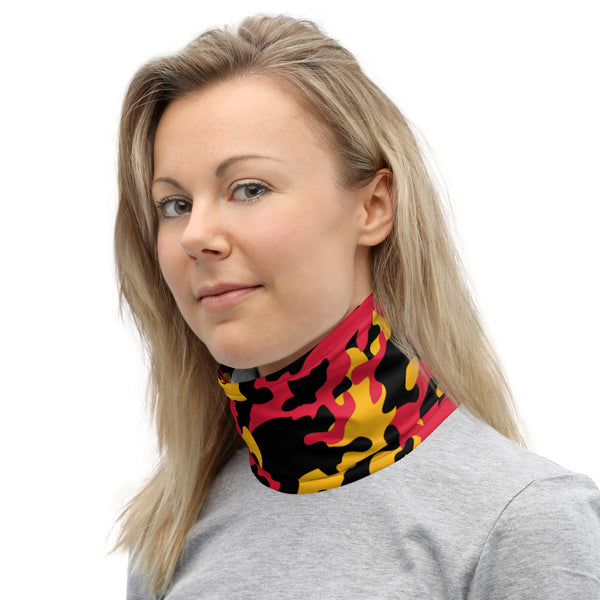 ThatXpression Fashion Black Yellow Red Camo Themed Neck Gaiter