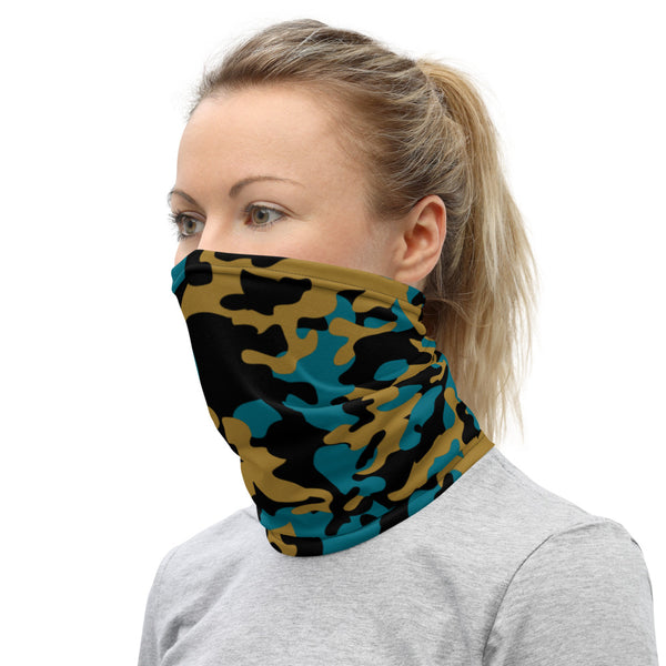 ThatXpression Fashion Black Teal Gold Camo Themed Neck Gaiter