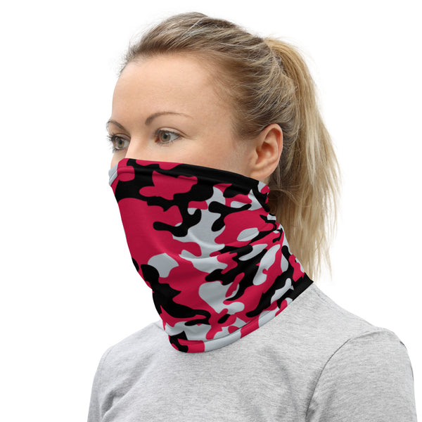ThatXpression Fashion Black Red Silver Camo Themed Neck Gaiter