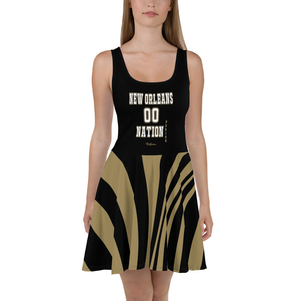 ThatXpression Plus Size Home Team New Orleans Black Gold Skater Dress