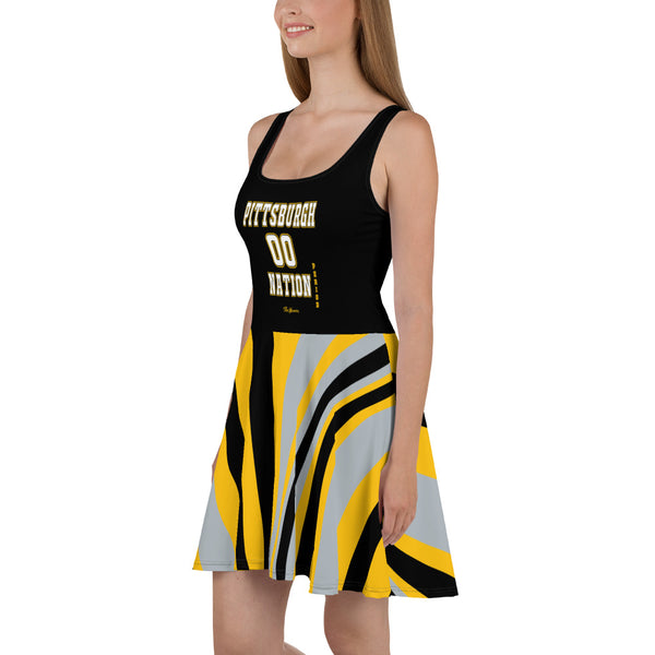 ThatXpression Plus Size Home Team Pittsburgh Black Yellow Skater Dress