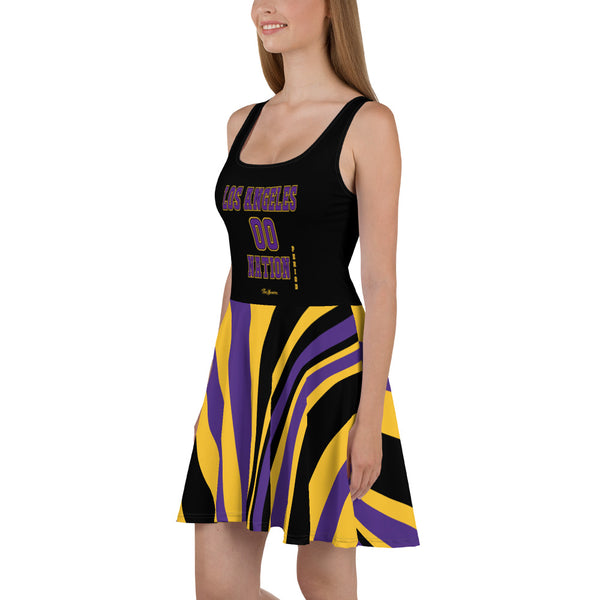 ThatXpression Plus Size Home Team Los Angeles Purple Gold Skater Dress