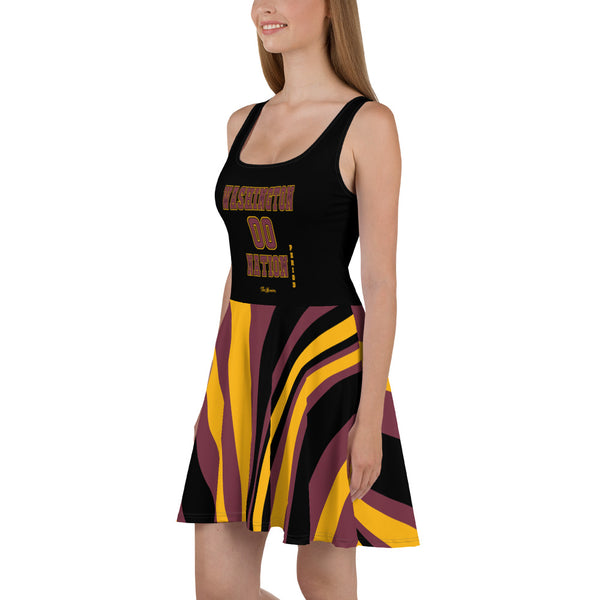 ThatXpression Plus Size Home Team Washington Maroon Gold Skater Dress