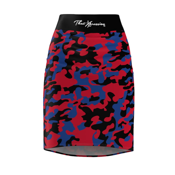 ThatXpression Fashion Royal Black Red Camouflaged Women's Pencil Skirt