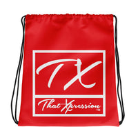 ThatXpression Fashion Fitness TX Active Gym Fit Red & White Drawstring bag