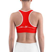 Train Hard And Takeover Red / White Gym Workout Sports bra