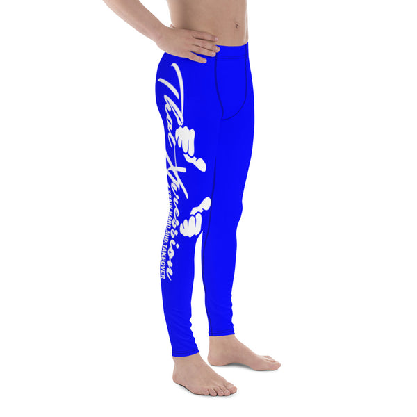 Men's Blue Gym Cross Fitness Weight Training White Logo Leggings by ThatXpression