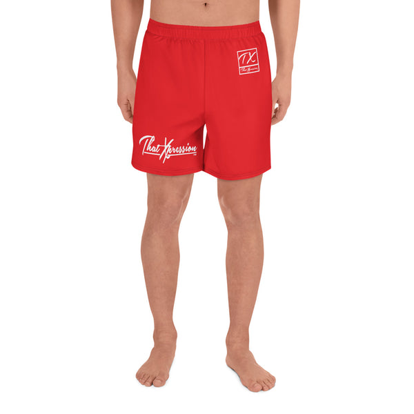 ThatXpression TX Red Athletic Long Shorts Gym Workout Swim Trunks