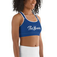 ThatXpression Fashion Fitness Training Blue Gym Workout Sports Bra