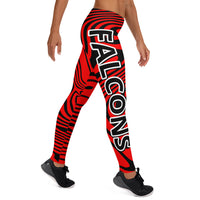 ThatXpression Fashion Fitness Black and Red Falcons Theme Swirl Leggings