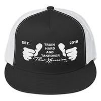 Train Hard And Takeover Gym Fitness Motivational WHT/BLK Gym Workout Trucker Cap