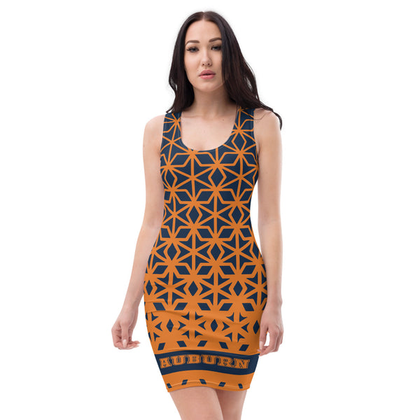 Ladies all over elegant casual fitted print dress