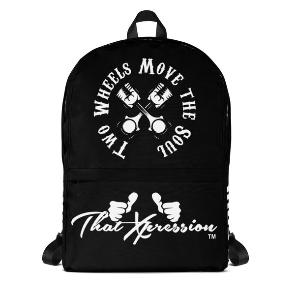 ThatXpression Fashion Fitness Two Wheels Move The Soul Themed Motorcycle Biker Backpack
