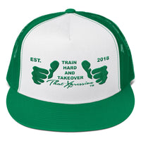 Train Hard And Takeover Gym Fitness Motivational GRN Logo Gym Workout Trucker Cap
