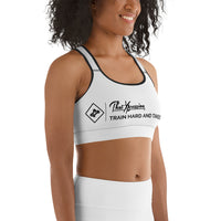 ThatXpression Fashion Gym Fitness Barbells Takeover White Gym Workout Sports Bra