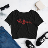 ThatXpression Fashion Fitness Stylized Red Women's Gym Workout Crop Tee