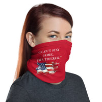 "ThatXpression Fashion Fitness ""I Can't Stay Home I'm A Trucker"" Red Face Mask"