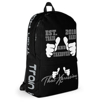 ThatXpression Fashion Fitness Train Hard And Takeover EST 2018 Black Backpack Laptop Gym Bag