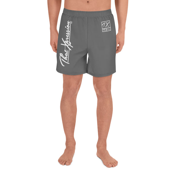 ThatXpression Grey Athletic Long Gym Workout Shorts Swim Trunks