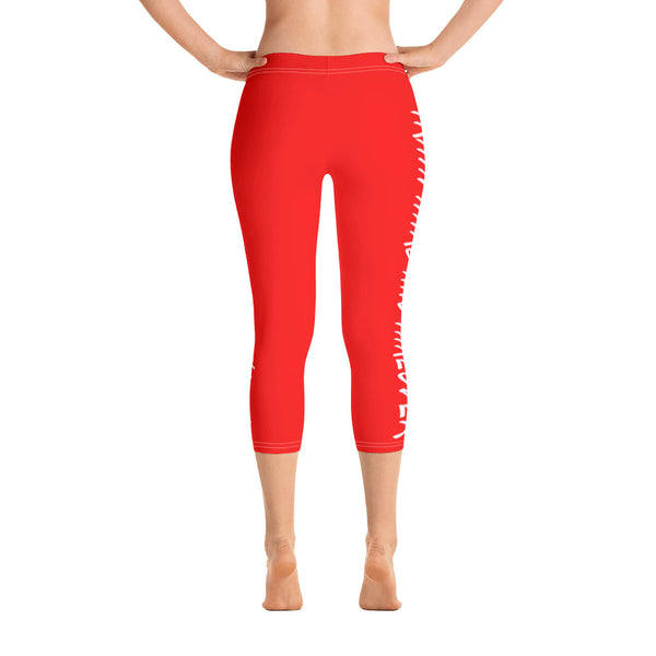 ThatXpression Fashion Fitness Train Hard And Takeover Red / White Gym Workout Capri Leggings