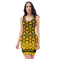 ThatXpression Black And Gold Diamond Pittsburgh Fan Fitted Dress