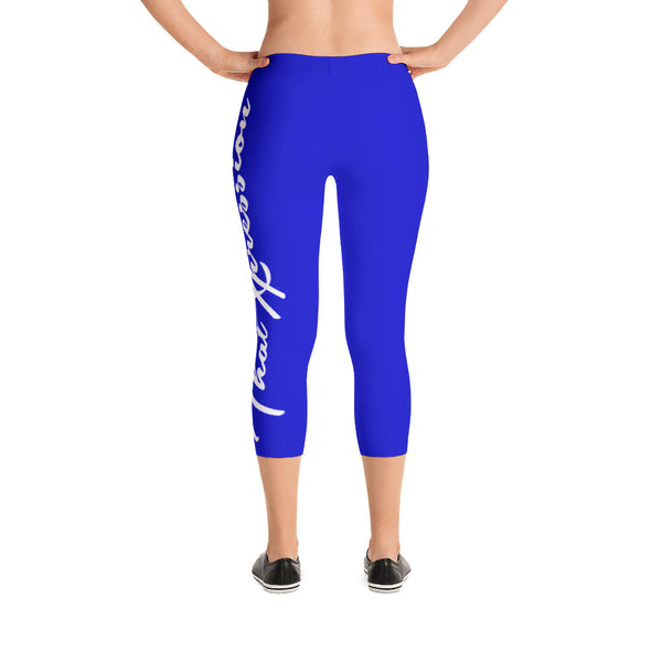 Women's Gym Fit or Casual Capri Leggings Blue/White by ThatXpression - ThatXpression