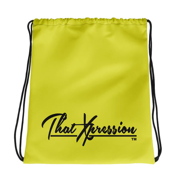 ThatXpression Fashion Fitness Black/Yellow Multi Use Storage Gym drawsting bag