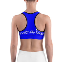 Train Hard And Takeover Blue / White Gym Workout Sports bra