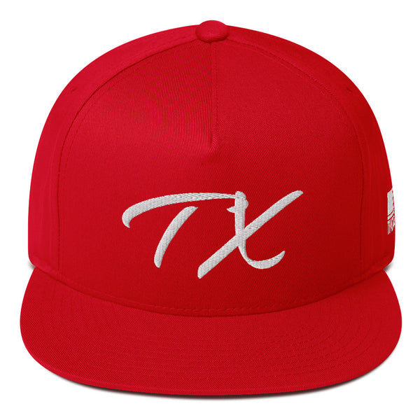 Double Stitched Stylized TX Logo by ThatXpression Gym Workout Flat Bill Cap