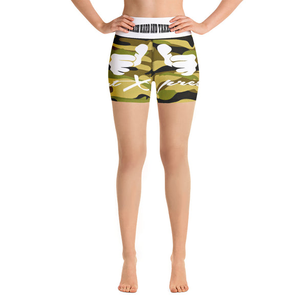 ThatXpression Fashion Fitness Train Hard And Takeover Army Camouflage Yoga Shorts With Pocket