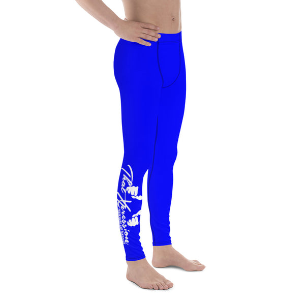 Men's Gym Fitness Weight Training Blue White Calve Logo Leggings By ThatXpression