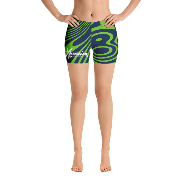 ThatXpression Fashion Designer Seahawks Themed Swirl Shorts