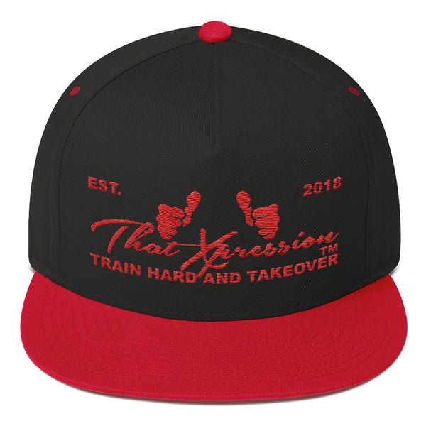 Train Hard And Takeover Gym Fitness Motivational RED/BLK Gym Workout Flat Bill Cap