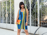 ThatXpression's Multi Colored Blue & Gold San Diego California Themed Fitted Dress
