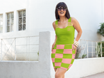 ThatXpression Fashion Pink Green Checkered Pattern Dress
