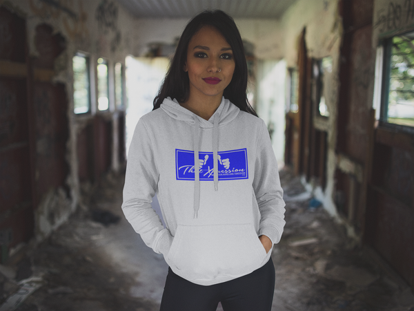 Unisex Gym Casual Hoodie White Black Logo by ThatXpression