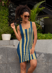 ThatXpression's Multi Colored Blue & Gold Los Angeles California Themed Fitted Dress