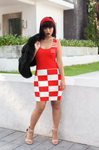 ThatXpression Fashion White Red Checkered Pattern Dress