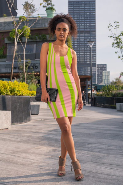 Pink & Green Multi Colored Striped Fitted Dress by ThatXpression