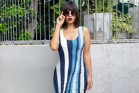ThatXpression's Blue Silver & White Urban Fashion Fitted Dress