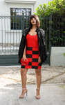 ThatXpression Fashion Red Black Checkered Pattern Dress